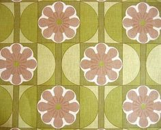 Vintage Wallpaper - Green Brown Flower Retro Hourglass Line Pattern 1970s Europe