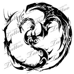 dragon yinyang tribal tatoos | Dragon Yin Yang Tribal Tattoo ...