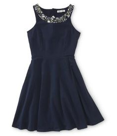 Jewel Neck A-Line Dress -