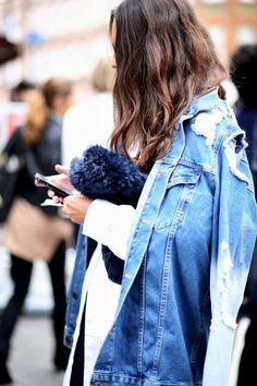STREET STYLE: DISTRESSED DENIM + FUR MIX