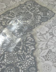 Lace Stenciled Concrete Floor - white stenciled overlay on top of grey painted concrete. Link on where to get this lace stencil is on the post. Stenciled Concrete Floor, Concrete Floors, Concrete Pad, Painted Floors, Painted Furniture, Lace Stencil, Henna Stencils, Painting Concrete, Floor Cloth