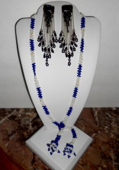 2 pc lot of Vintage to mod Tribal set leather back earrings beaded and necklace
