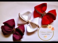 Laço kanzashi 4 com detalhe em manta de strass by Tatiana Karina DIY/ Tutorial / How - YouTube