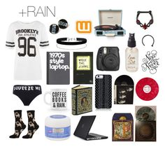"""Rainy Day In"" by jordyia ❤ liked on Polyvore featuring WearAll, Neutrogena, Speck, Miss Selfridge, Savannah Hayes, Ødd., Olivine, Crosley Radio & Furniture and Tattly"