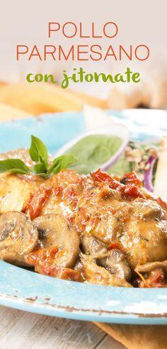 Disfruta de esta deliciosa y rápida opción de preparar pollo. Una receta súper fácil, llena de sabor, con una cremosa salsa, champiñones, un toque de jitomate deshidratado y para terminar queso parmesano rallado.