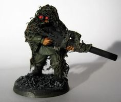Cadian sniper in ghilie suit