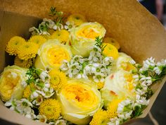 One or our new sample bouquets featuring Catalina, one of our beautiful yellow garden roses.