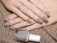 essie — Cozy up with this cool gray. essie – Make yourself comfortable with this cool gray. Essie Nail Polish, Nail Polish Colors, Gray Nail Polish, Color Nails, Nail Polishes, Cute Nails, Pretty Nails, Milky Nails, Neutral Nail Art