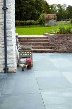 patio stone option? Black Riven mandarin stone slate