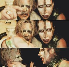 Marilyn Manson and Johnny Depp Johnny Depp Fans, Johny Depp, Marilyn Manson, Golden Age Of Hollywood, Beautiful Person, Concert Posters, Music Is Life, Rock Music, Rockers