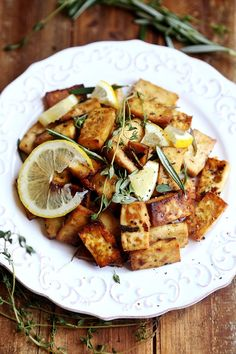 Lemon herb baked tofu... Best tofu marinade by far!! Loved this! Baked at 400 for 40 minutes