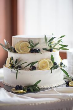 Lemon, Blackberry, and olive leaf cake