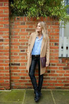 Leather trousers + denim shirt + camel coat + burgundy bag