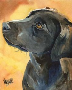 Dog Watercolor Painting - 8x10 Black Lab. $12.50, via DogArtStudio on Etsy