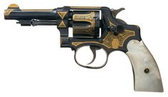 Elaborate Gold Damascene Embellished Alfa Copy of a Smith & Wesson Double Action Revolver with Pearl Grips