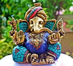 Antique Rare God Ganesh Statue, Ganesha Sculpture, Turquoise Gemstones & Hand Carved Brass Collectable Hindu Ritual Gift