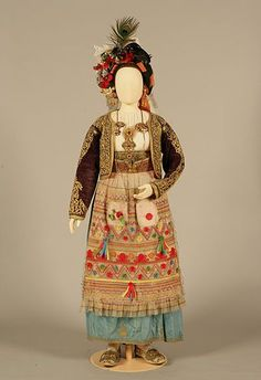 Bridal or festive costume from Corfu, Ionian islands, Greece. Kai, Corfu Greece, Folk Costume, Historical Costume, Fashion History, Traditional Dresses, Bridal, Wedding Dresses, How To Wear