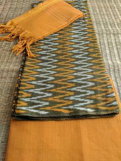 Buy Ikkat Suit in Handloom Cotton W/ Mangalgiri Dupatta- Orange