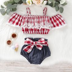 Red Plaid Lace Off Shoulder Top W/ Matching Denim Bowknot Bottoms Baby Clothes Patterns, Cute Baby Clothes, Baby & Toddler Clothing, Baby Clothes Shops, Toddler Outfits, Kids Outfits, Cute Outfits, Tokyo Street Fashion, Style Grunge