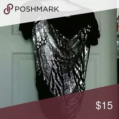 Black/ Silver slouch tee- Shirt Black/ Silver Slouch pop up Tops Tees - Short Sleeve