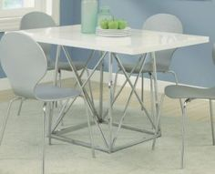 Monarch Glossy - Chrome Metal Dining Table, 36 by 48-Inch, White