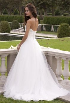 Wedding Dresses - Strapless Taffeta Wedding Dress with Mesh Skirt from Camille La Vie and Group USA