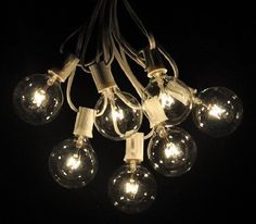 Amazon.com: 50 Foot Globe Patio String Lights - Set of 50 G50 Clear Bulbs with White Cord: Home & Kitchen - $78 with 1-3 day shipping