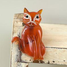 Vintage Carved Bakelite Cat Brooch