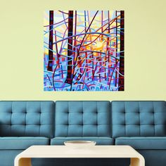 Abstract Winter Forest Wall Sticker Decal – Sunrise by Mandy Budan