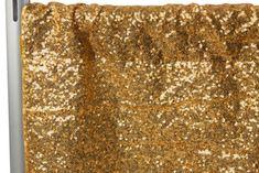 "Glitz Sequin 10ft H x 112"" W Drape/Backdrop panel - Gold"