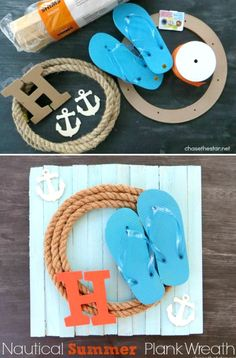 All Kinds of Great Nautical Rope Wreath Ideas: http://www.completely-coastal.com/2016/06/nautical-rope-wreaths.html Traditional rope wreaths, rope wreath ideas with anchors, flip flops, shells and more!