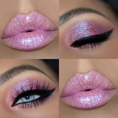 42 Beautiful wedding make-up for your big day Pink Makeup, Glitter Makeup, Cute Makeup, Glam Makeup, Gorgeous Makeup, Pretty Makeup, Makeup Inspo, Eyeshadow Makeup, Hair Makeup