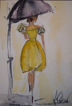 """Birthday Luncheon"" by Kathryn Trotter, watercolor NFS, x Umbrella Painting, Umbrella Art, Under My Umbrella, Vintage Vogue Fashion, Fashion Art, Wedding Embroidery, Heart Art, Mellow Yellow, Cool Eyes"
