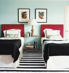 twin beds, black, white, red, blue. LOVE