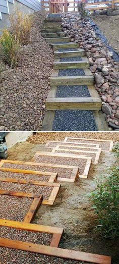 Adding DIY steps and stairs to your garden or yard is a great way to enhance your outdoor landscaping whether they are perfectly flat or happen to sit in a slope. On the other hand, stairs on a garden (Diy Step Outdoor) Outdoor Steps, Outdoor Landscaping, Outdoor Gardens, Landscaping Ideas, Backyard Ideas, Mulch Ideas, Pathway Ideas, Florida Landscaping, Pergola Ideas
