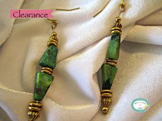 SALE 20% off, use coupon code: PIN10 EXTRA 10% off! CLEARANCE MARKED DOWN FROM $12.00.  #Handmade #Earrings made with green marble style triangle stone #beads, accented with gold-tone beads.  I ship worldwide, if you don't see ... #jewelry #necklace #jewelry #jewellery #handmade #handcrafted #beadwork #earrings #beading