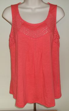 Stitch Fix August 2015. Skies are Blue Graciella Eyelet Detail Tank in Coral. 100% Cotton