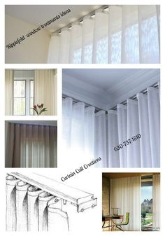 Ripplefold window treatment require special rod and pin placement Curtains And Draperies, Modern Curtains, Window Drapes, Window Coverings, Window Treatments, Room Window, Gray Interior, Interior Design, Drapery Styles