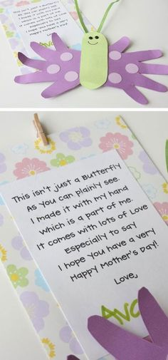 Mothers Day Butterfly Card and Poem | Click Pic for 22 DIY Mothers Day Craft Ideas for Kids to Make | DIY Mothers Day Crafts for Toddlers to Make #toddlercrafts #craftsforkidstomake