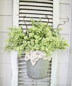 Galvanized Pot With Lace and Greenery on an Old Shutter. Would look cute having the shutter leaning up against cinderblock wall! by Buy Lizzie Decoration Entree, Old Shutters, Repurposed Shutters, Pink Garden, Succulents Garden, Outdoor Living, Outdoor Decor, Cottage Style, Flower Pots