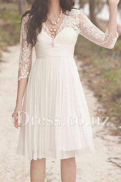 3/4 sleeve scalloped v-neck empire lace bodice short wedding dress