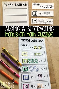 Solve It Strips: Addition and Subtraction With Pictures Second Grade Math, First Grade Classroom, Kindergarten Classroom, First Grade Activities, Math Activities, Guided Math Groups, Math Fact Fluency, Maths Puzzles, Math Practices