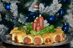 Delicious and delicious idea for Christmas - Christmas Dishes, Christmas Cookies, Christmas Ideas, Antipasto, Christmas Centerpieces, Sushi, Appetizers, Food And Drink, Snacks