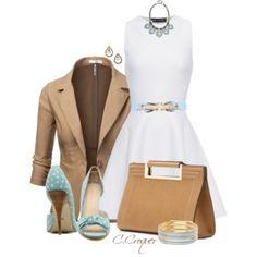 White Dress Baby Blue & Beige