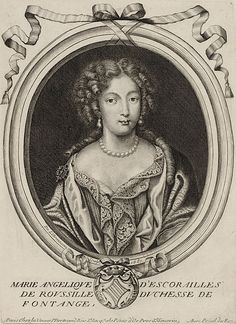 "Marie Angélique de Fontanges one of the many mistresses of Louis XIV. Despite her physical charm, Marie Angélique was, in the court parlance, ""as stupid as a basket,"""