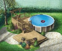 Are you think of how to enhanced your pool area with pool deck ideas? I have here how to enhance your pool area with a pool deck ideas you will love. Above Ground Pool Landscaping, Above Ground Pool Decks, In Ground Pools, Pool Deck Plans, Pergola Plans, Pergola Ideas, Pergola Kits, Backyard Ideas, Landscaping Ideas
