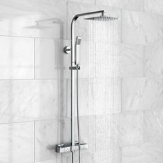 No wonder this square mixer shower is a favourite! With thermostatic mixer kit, square shower head, riser rail, hose & hand held shower head, it ticks every box Large Shower Heads, Mixer Shower, Shower Kits, Rainfall Shower, Hand Held Shower, Reno, Toilet Paper, Home Furnishings, Chrome