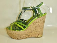 LOUIS VUITTON GREEN LEATHER CORK WEDGES size 36 UK 3