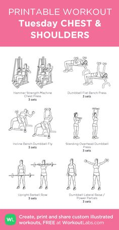 24 Ideas For Fitness Workouts For Teens Weightloss Healthy - Gewicht Shoulder Workout Women, Chest And Shoulder Workout, Chest Workout Women, Gym Workout Plan For Women, Gym Workouts Women, Chest Workouts, Chest And Tricep Workout, Arm Day Workout, Upper Body Workouts