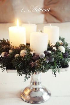 would be nice to do this with 3 purple & 1 pink for Advent wreath. Use a glass c would be nice to do this with 3 purple & 1 pink for Advent wreath. Use a glass cake plate! Noel Christmas, Christmas Candles, Christmas Centerpieces, Xmas Decorations, All Things Christmas, Simple Christmas, Winter Christmas, Christmas Wreaths, Christmas Crafts
